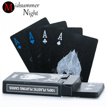 55pcs/deck poker waterproof plastic pvc playing cards set pure color black poker card sets classic magic tricks tool poker game