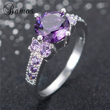 Bamos Charming Round Purple Birthstone Rings For Women Men 925 Sterling Silver Filled Cubic Zirconia Wedding Ring Jewelry RS0004