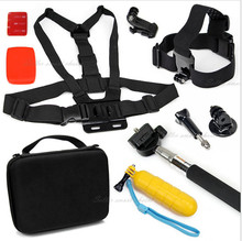 Gopro accessories storage box Set Transportation + chest / head / wrist strap windy Auto + tripod mount adapter SJ4000 SJ5000