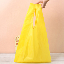 2017 Square Pocket Shopping Bag Candy 7 colors Available Eco-friendly Reusable Folding Handle Polyester foldable shopping bag(China)