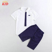 Summer Trendy Boys Clothing Set Korean Tie Blouse + Shorts Kids Clothes Suits Party Costume For Kids British Style Blouse KD334