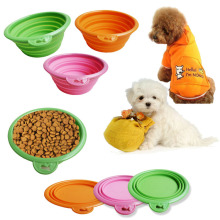 Whlesale  Non-toxic Eco-friendly Silicone Pet bowl Outdoor portable folding Dog Feeders with hook Free shipping