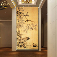 Custom 3D photo wallpaper classical Chinese paintings bamboo magpie ancient corridor lobby studio wallpaper papel de parede