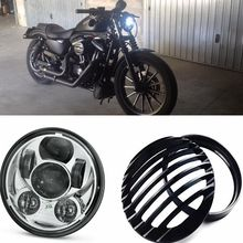 5-3/4 Inch 45W Daymakers Projector LED Headlight + Black Aluminum Headlight Grill Cover For Harley Sportster XL 883 1200(China)