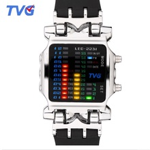 Fashion Brand TVG Binary Led Digital Watch Luminous Waterproof Men Sports Watches Clock Wristwatches for Men Relogio Masculino