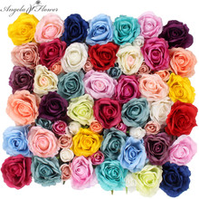 DIY silk artificial rose flower head hotel background wall decoration DIY Road led wedding flower Bouquet home party decor 11pcs(China)