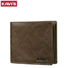 KAVIS 100% Vintage Genuine Leather Wallet Men Fashion Coin Purse PORTFOLIO Walet Portomonee Small Magic Vallet Male Cuzdan Slim