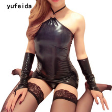 YUFEIDA Fashion Sexy Women's Lingerie PVC Teddy Bodysuit Jumpsuits Catsuit Costumes Black PU Clubwear+Gloves+G-string Size M XXL