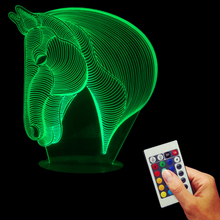 Free Shipping 1Piece USB Novelty Gifts 7 Colors Changing Animal Luces Horse Led Night Lights 3D LED Desk Table Lamp Home Decor