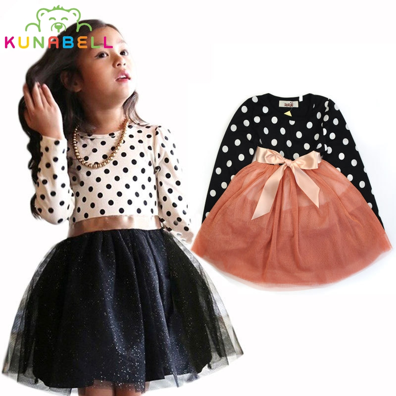 2017 Spring Kids Girls Dress Girls Cotton Long Sleeve Party Dress Polka Dots Children Clothes Toddler Girl Clothing D024<br><br>Aliexpress