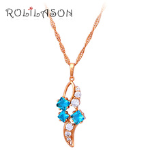 Beautiful Zircon  Fashion Jewelry Light Blue Crystal Necklaces & Pendants for women  gold tone wedding items  LN366