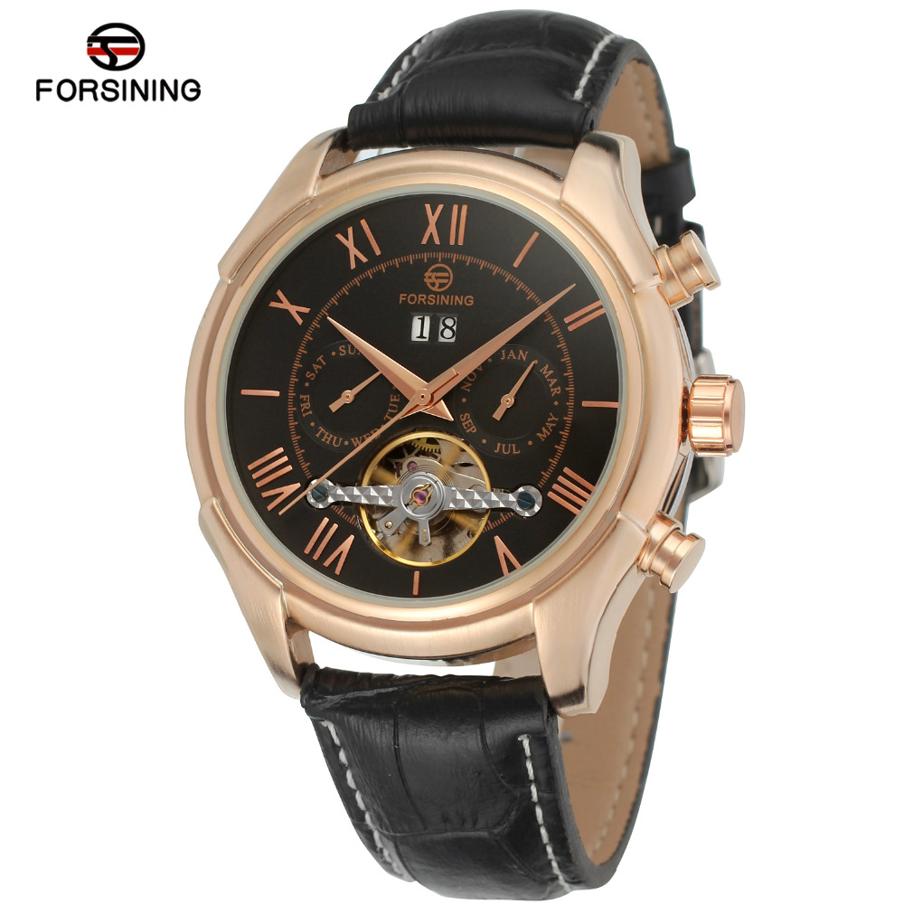 Forsining Mens Watch Hot Selling Elegant Automatic Genuine Leather Strap Multi-Function Wristwatch Four Colors FSG583M3<br>