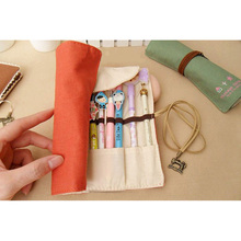 Creative Vintage Roll Up Pencil Case 20 Holes Canvas Simple Stationery Bag Pen Box Bag Cosmetic Makeup Pen Storage Portable Gift