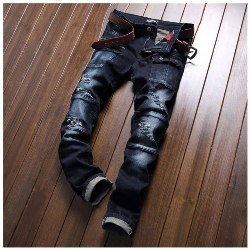 New Mens Patchwork Hole Jeans Casual Straight Slim Ripped Jeans Pants Fashion Pocket Design Male Clothing Long Trousers 29-38Одежда и ак�е��уары<br><br><br>Aliexpress