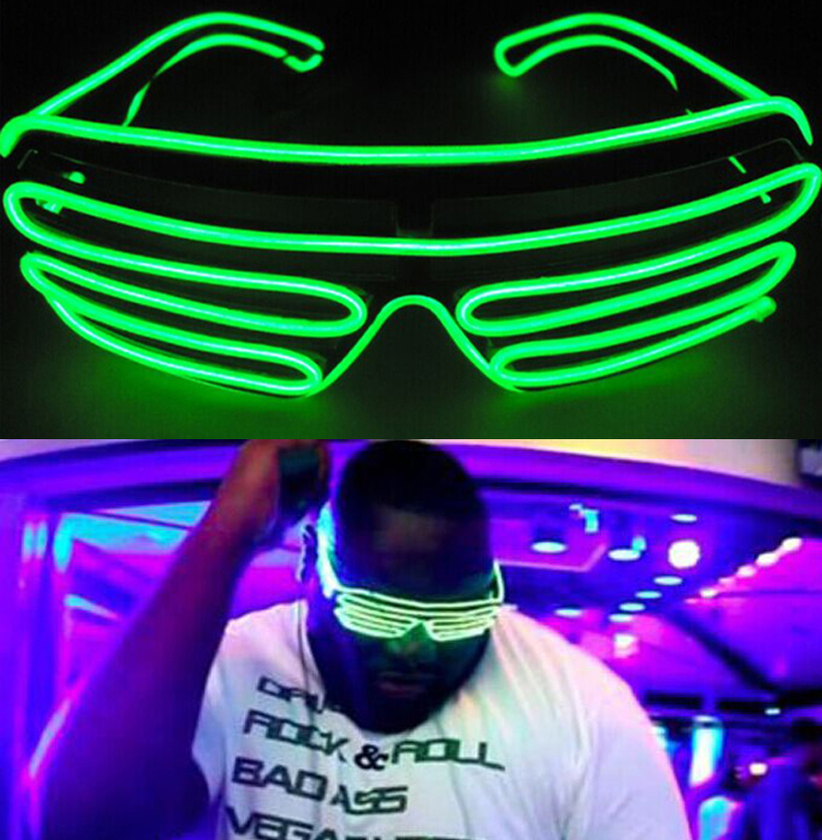 3 Modes Green Sound Control Flash EL LED Glasses Luminous Party Lighting Colorful Glowing Classic Toys For Dance DJ,Party Mask(China (Mainland))