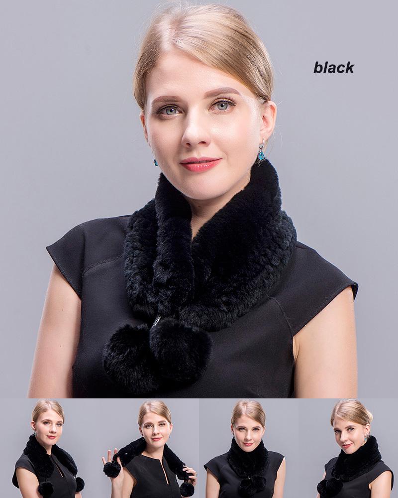 rex rabbit short scarf black 1