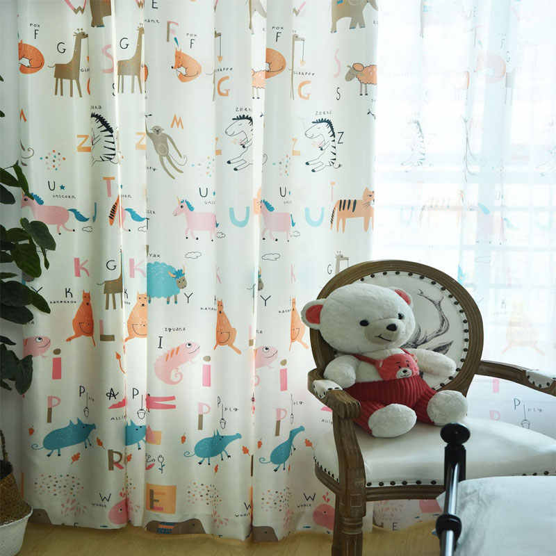 Cute Kid Curtains For Living Room bedroom Children Boys Girls Animated Cartoon lion giraffe elephant Window Shade Screens