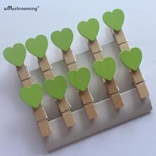 Lime Green wooden Heart Clothespins, mini set of 10 for Packaging Paper Bags Favor Decoration