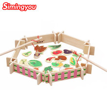 Simingyou Wooden Montessori Toys Farm Ranch Vegetable Magnetic Fishing Educational Toys B40-A-165 Drop Shipping