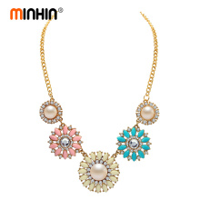 MINHIN Romantic Flower Design Necklace Europe and America Beads Sun Flower Choker Necklace Women Costume Jewelry(China)