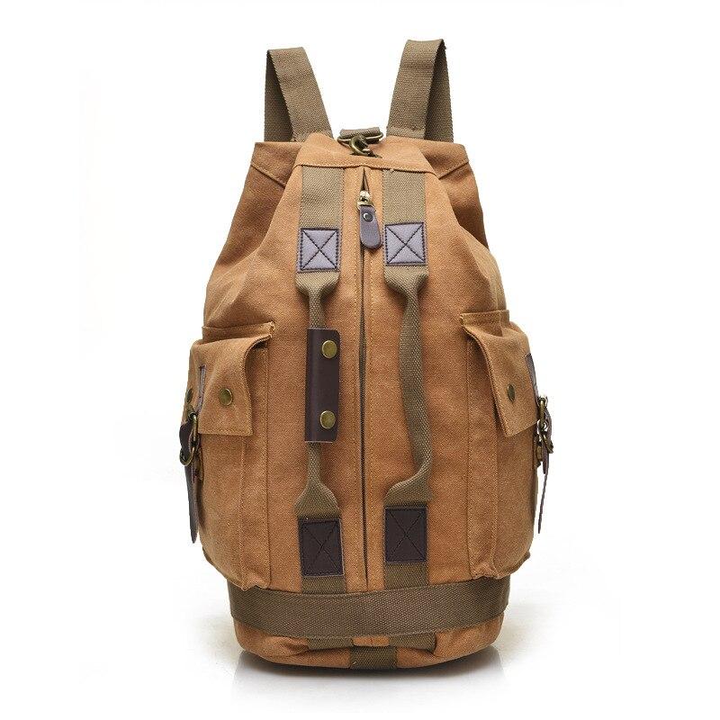 2017 Casual Canvas Handle Bagpack Travel Backbags Vintage Men Multi Pockets Bag Cylinder Bagpack Rucksack School Bags Mochilas<br><br>Aliexpress