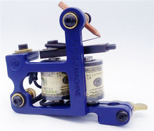 2016 New Arrival The Lowest Price High Quality 10 Wrap Coils Steel Shader and Liner Tattoo Machine Blue Free Shipping TM-7303(China)