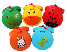 Kid Cartoon Wooden Castanet Toy Children Musical Percussion Instrument Xmas Gift