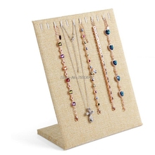 Linen Necklace Chain Bracelet Display Stand Board Jewelry Holder Rack 11 Slots-W128
