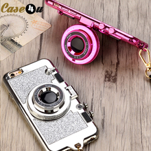 Buy Sparkle Camera Mirror Stand Necklace Case iPhone 7 8 6s Plus X Bling Glitter Phone Cases coque iPhone 6Plus 7Plus 8Plus for $3.48 in AliExpress store