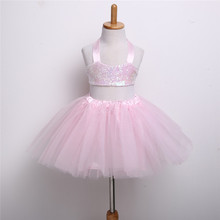 Girls Sequin Lace Up Dress Fashion Halter Tops And Bow Cute Dress Clothes 2017 Spring Lovely Princess Party Tutu Dresses