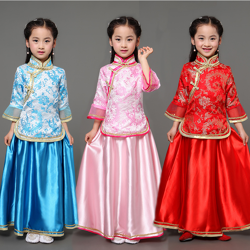 Mother daughter family matching outfits Tang dynasty princess costume modern chinese cheongsam qipao top and skirt two piece set