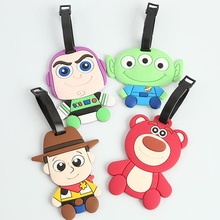 1pcs Toy Story Woody Buzz Lightyear Bear Creative Silicone Luggage Tag Pendants Hang Tags Tourist Products Toy Figure