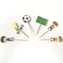 24pcs Football Boys With Bamboo Ice Cream Candy Bar Cupcake Toppers Pick Birthday Party Supplies Kids Baby Shower Decorations