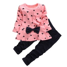 High quality Heart-shaped logo printing Cute baby girls clothes sets Long sleeve T shirt  +Pants 2PCS Children Clothing Sets