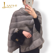 Buy LVCHI Brand 2017 New Genuine Fur Women's Jacket Real Fur Coats Short pants mink shawl cloak jacket Leather Patchwork Mink Coat for $861.79 in AliExpress store