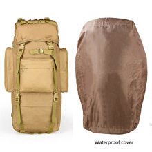 65L Metal Steel Frame Super Light Military Molle Waterproof Nylon Backpack Waterproof Cover Oilproof Trekking Travel BagCL5-0055