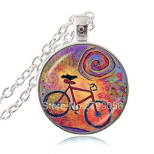 Bike and Raven Photo Necklace Bicycle Pendant Gift for Cyclist Glass Dome Silver Bronze Choker Necklace Women Men