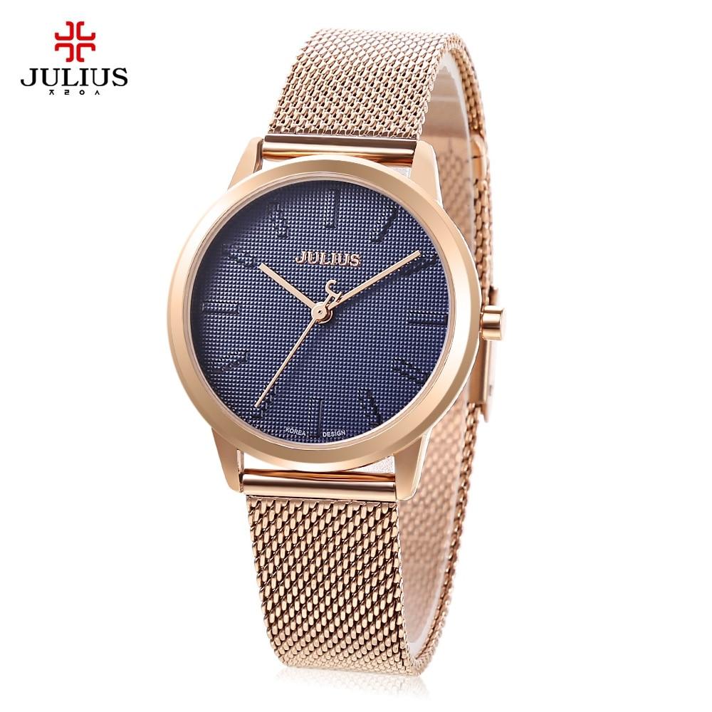 Julius JA - 982 Women Watches Ultrathin Stainless Steel Mesh Band Simple Japanese Quartz Movement Watch relogio feminino<br>