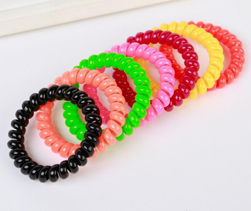 1PC/lot Women Ladies Girls Hair Bands New Black Elastic Rubber Telephone Wire Style Hair Ties & Plastic Rope Hair Accessories