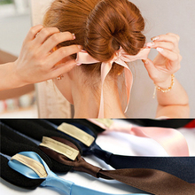 5 PC Fashion Girl Hair Bows Band Accessories Silk Headband Women Magic Tools Foam Sponge Device Quick Messy Donut Bun Hairstyle