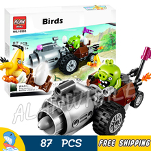 87pcs The Birds Movie Toys Piggy Car Escape 10505 Building Blocks Model Games Bricks Kids Toys Kits Compatible With Lego(China)