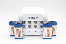 4 pcs ETINESAN 9v SUPER BIG 900mAh li-ion lithium Rechargeable 9 Volt Battery + Dedicated 4 slots 9v charger Hurry to act(China)