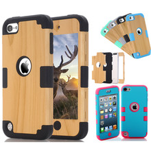 New Case cover For Apple iPod Touch 5 / Touch 6 TPU PC Wood Grain Hybrid Combo Body Armor Shockproof phone Cover Case Protector