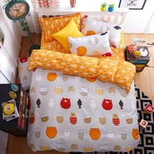 3pcs/4pcs A: Cartoon Owl B:Fish Orange Bedding Sets Bed Line Bed Set Duvet Cover Bed Sheet Pillowcase King/Queen/Full/Twin 5Size(China)