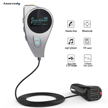 Wireless Car Bluetooth FM Transmitter 3.5mm jack Aux Bluetooth Car Kit Handsfree Voltage Display TF USB Car Charger mp3 Player(China)