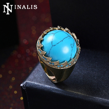 INALIS High Grade Big Turquoises Stone Ring Luxury Gold Color Vintage Finger Rings Women Fashion Party Dress Jewelry Nickle Free