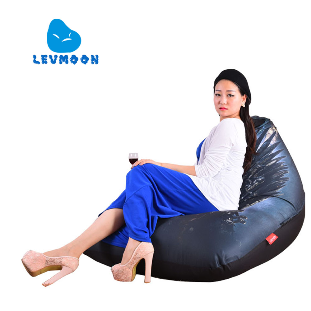 LEVMOON Beanbag Sofa Chair Ice and Fir Seat Zac Comfort Bean Bag Bed Cover Without Filler Cotton Indoor Beanbag Lounge Chair<br>