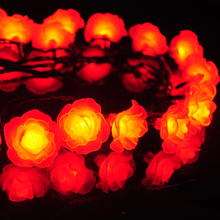 New Year 10M Artificial Rose Light LED Flower Holiday/Party Decoration Lighting Strings for Bedroom/ Wedding/Christmas Tree H-01