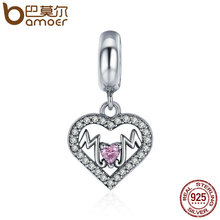 Buy BAMOER Pure 100% 925 Sterling Silver Sweet Heart MOM Pendant Charm fit Women Charm Bracelet Beads Jewelry Mother Gift SCC392 for $6.94 in AliExpress store