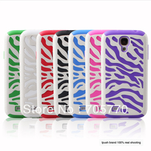 150pcs/lot Hybrid Combo Silicon& Zebra Mesh Mobile Phone Case For Samsung i9500 Galaxy S4 Cell Phone Case DHL Free Shipping